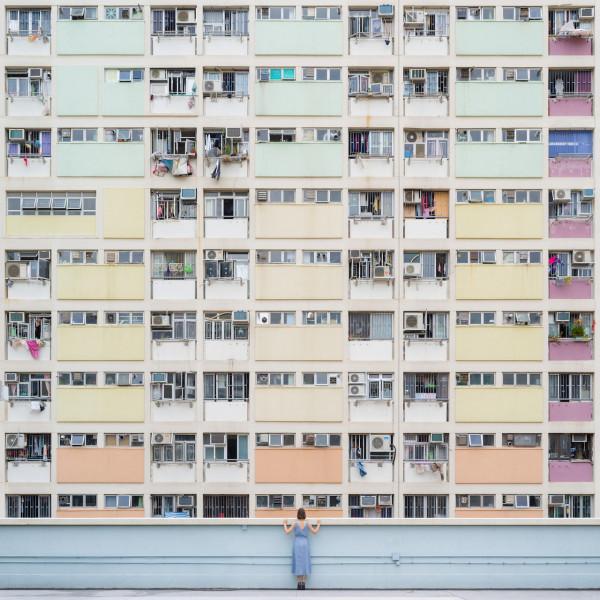 Annandaniel Anniset DrCuerda Anna Devís Daniel Rueda Curiocities Choi Hung Estate Cyance Fiction Hong Kong Colorful Rainbow Building Apartments Blue Dress