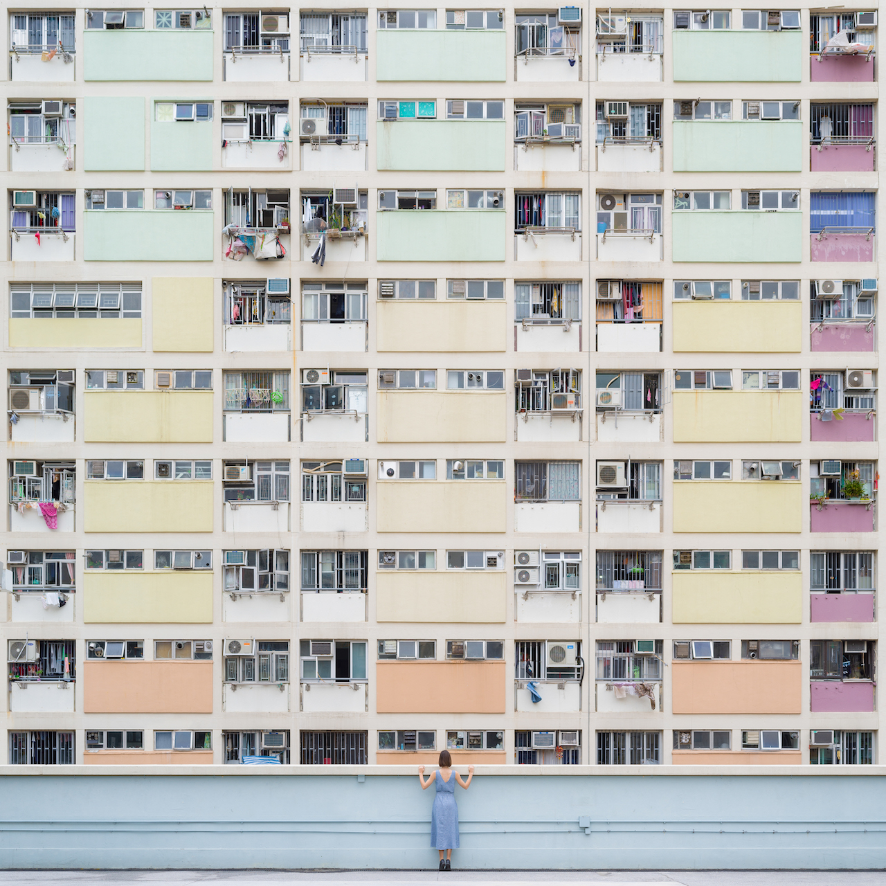 Annandaniel Anniset DrCuerda Anna Devís Daniel Rueda Curiocities Choi Hung Estate Cyance Fiction Hong Kong Colorful Rainbow Building Apartments Blue Dress