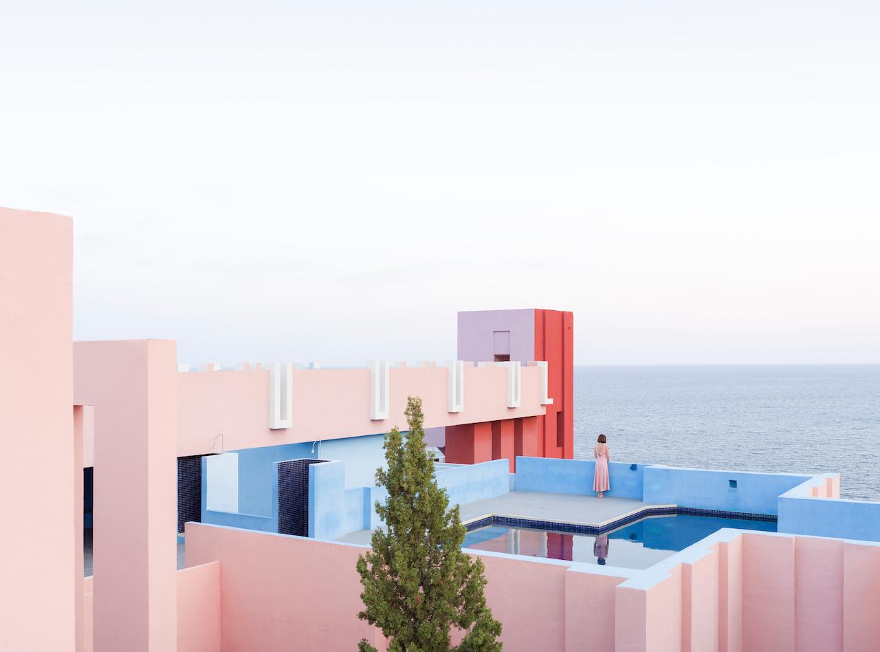 Muralla Roja Ricardo Bofill architect Red Wall Calpe Alicante Spain España Colorful Maze Pink Blue pantone stairs Escher pastel colored building Anniset DrCuerda Anna Devís Daniel Rueda influencer creative campaign
